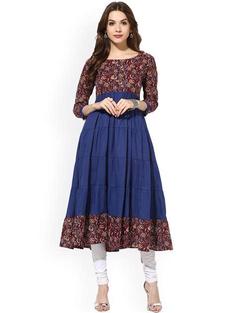 Kitchen Floor Mats Designer buy aks women maroon amp blue printed anarkali kurta