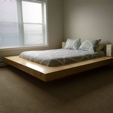 floating platform bed maple wood floating platform bed frame diy floating