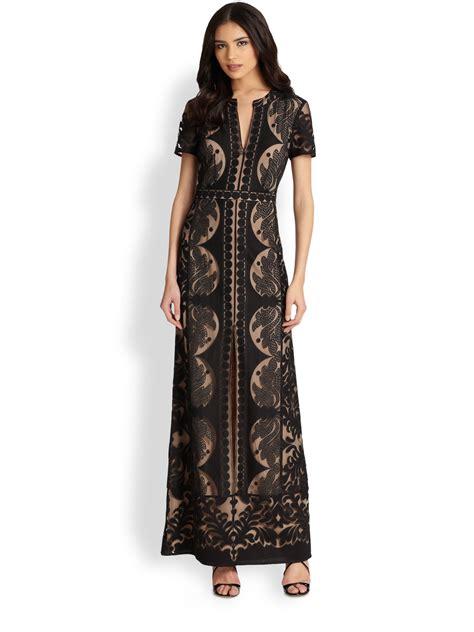 Dress In Black bcbgmaxazria cailean lace maxi dress in black lyst