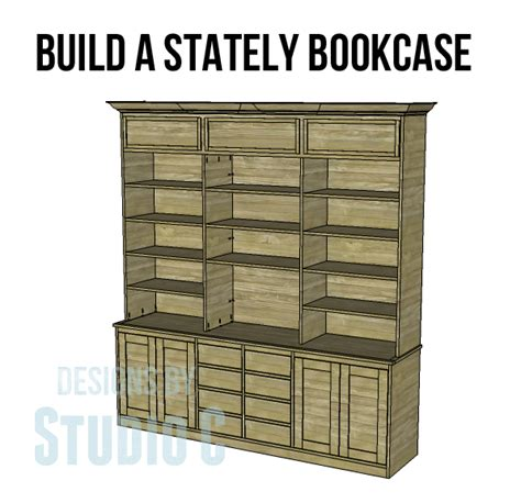 plans build large stately bookcase