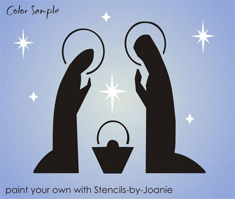 stencil christmas 8 quot tall nativity joseph mary baby jesus