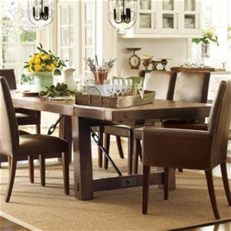 rustic dining room design with wooden pottery barn kitchen