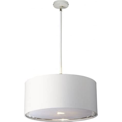 white ceiling pendant with drum shade lined in silver metallic