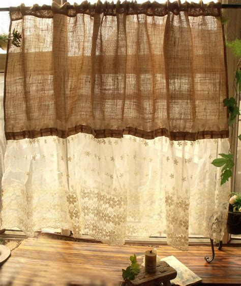Burlap Country Curtains Custom Shabby Country Chic Burlap Curtain Panel