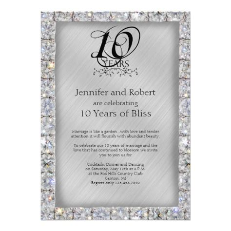 10th wedding anniversary invitation wording 10th tin and wedding anniversary announcements