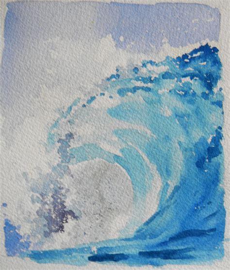watercolor waves tutorial original watercolor landscape big curl wave