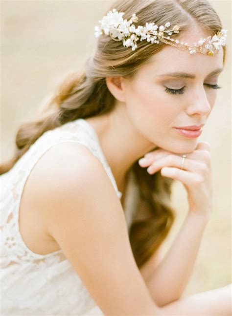 Wedding Headpiece White And Gold gold bohemian bridal headpiece