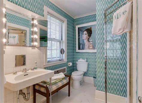 blue bathroom wallpaper wallpapered rooms 12 photos to inspire bob vila