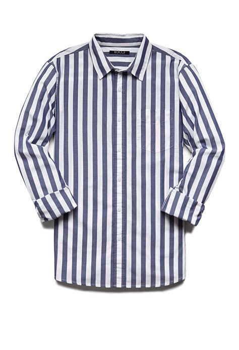 Classic Striped Shirts by Forever 21 Vertical Striped Classic Fit Shirt In White For