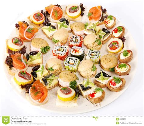 plate of canapes stock photography image 6337972