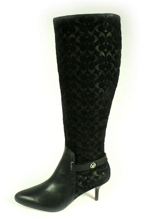 coach high heel boots coach fara high heel boots knee black signature c logo