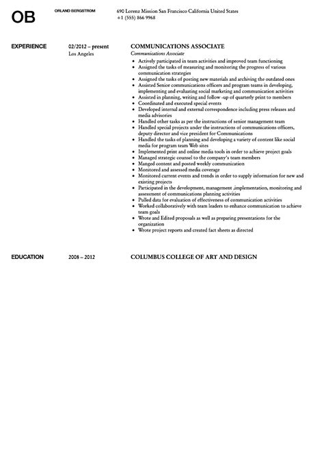 Communications Associate Sle Resume by Communications Associate Resume Sle Velvet