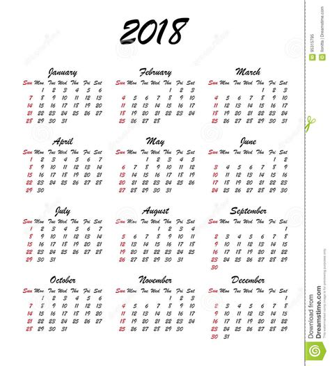 sunday calendar schedule blank page royalty free stock calendar 2018 year week starts sunday us vector clear