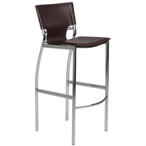 chrome leather bar stools 30 quot bar stool in brown leather and chrome 17214brn