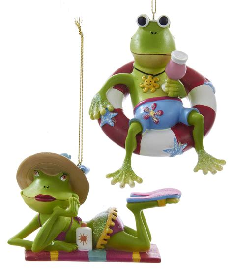 beach frog couple suntanning christmas holiday ornaments