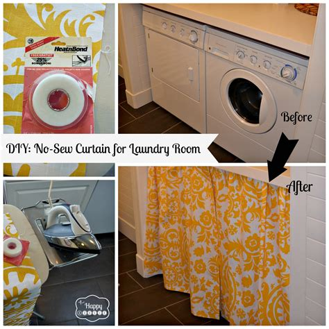 Curtain Hemming Tape Diy A No Sew Curtain In The Laundry Room The Happy Housie