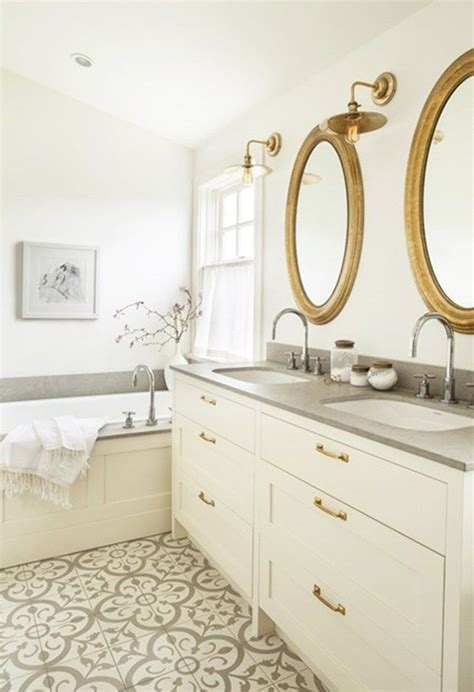 encaustic tile bathroom 10 beyond stylish bathrooms with patterned encaustic tile round mirrors countertops