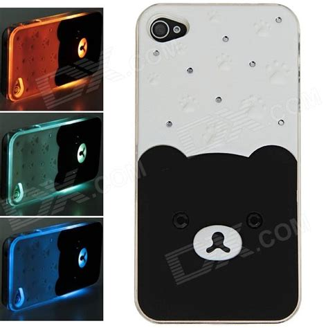 Switch On Iphone 4 plastic back w calling 7 color flash contract switch for iphone 4 4s black white