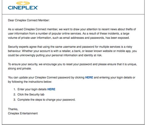 Cineplex Login | cineplex entertainment encourages password changes