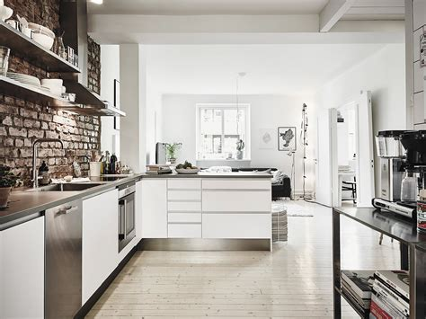 living room and kitchen together scandinavian interior apartment with mix of gray tones