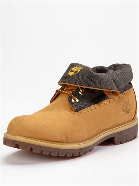 timberland boots roll top mens timberland mens roll top boots in beige for wheat lyst