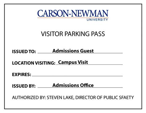 One Day Pass Carson Newman Parking Pass Template
