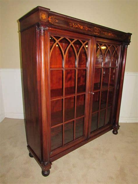 antique bookcase cabinet locking glass doors inlaid