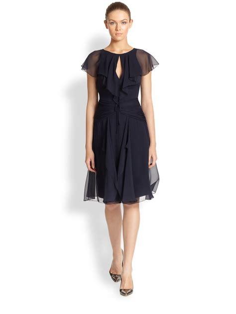 Flutter Sleeve Dress lyst carolina herrera silk chiffon flutter sleeve dress