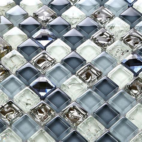 Blue Mosaic Tiles Bathroom by Mini 15 15mm Deep Ice Crackle Blue Color Crystal Glass
