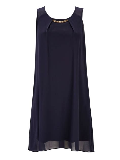 A Pretty Embellished Navy Dress From Warehouse wallis embellished dress in blue navy lyst