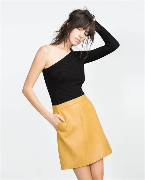 zara faux leather skirt in yellow lyst