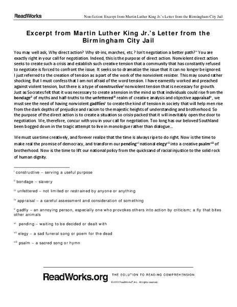 Letter From Birmingham Worksheet Answers by Study Questions Letter From Birmingham City Answers