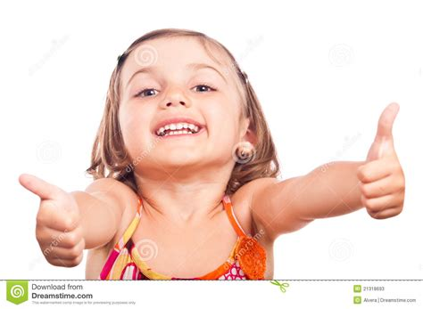 tiny small happy little girl thumbs up stock image image 21318693