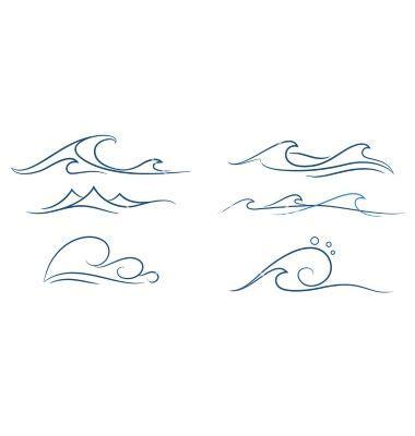 simple waves set vector on vectorstock ink