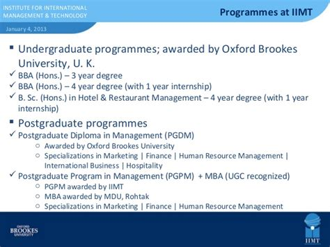 Mba Admission Procedure In Mdu by Hospitality School Presentation Iimt Oxford Brookes