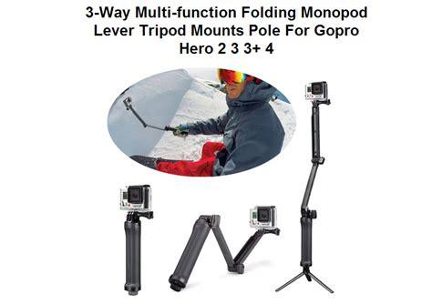 Monopod 3 Way For All Gadget gopro 3 way monopod extension arm tripod 4 3 2 xiaomi yi sj4000 gp238 portable