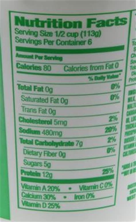Non Cottage Cheese Nutrition Facts by Cottage Cheese Nutrition Facts Free Nutrition Ftempo