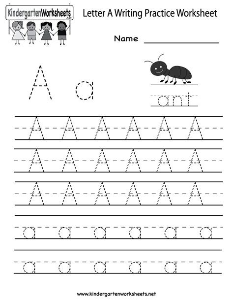 practice writing paper for kindergarten kindergarten letter a writing practice worksheet printable
