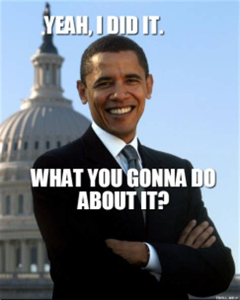 What You Gonna Do Meme - yeah i did it what you gonna do about it barack obama