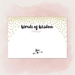 Bridal Shower Words Of Wisdom Cards Printable Words Of Wisdom Cards For Wedding Pdf To Diy