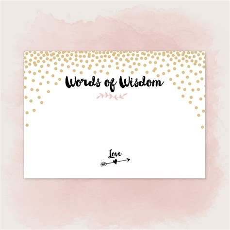 graduation words of wisdom card templates printable words of wisdom cards for wedding pdf to diy