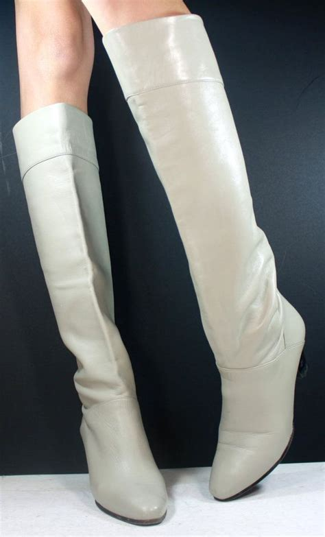 white thigh high boots low heel vintage white gray low heel knee high womens