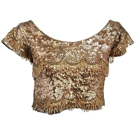gold beaded top 50s gold beaded cropped top at 1stdibs