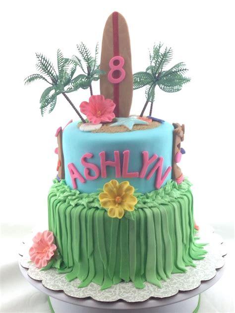 hawaiian theme sugar flowers long surfboard girl birthday cake beach themed cake cakes
