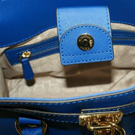 Michael Kors Mini Hamilton East West Genuine Leather Tote Electric Blue #30S2GHMS3L   Michael