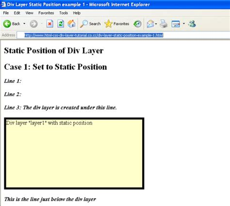 div css position static position of div layer