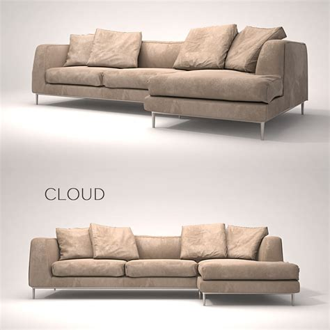 the cloud leather sectional leather sofa 3d model