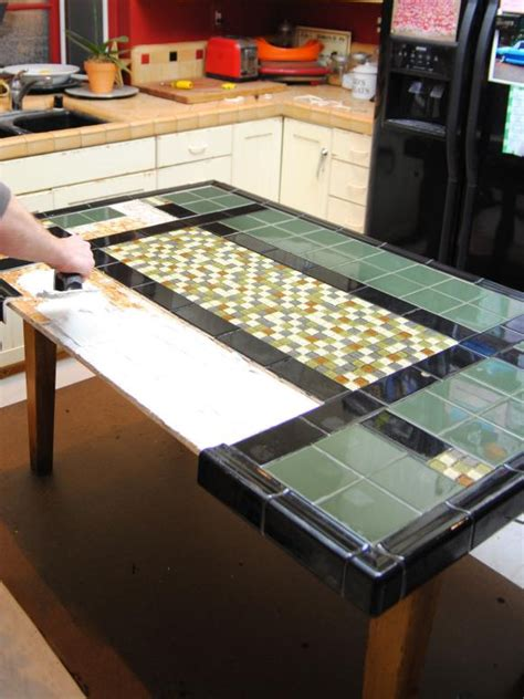 tiled bench tops create a mosaic tile tabletop hgtv