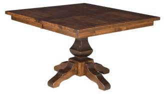 pedestal square dining table amish rustic plank square dining table pedestal solid wood