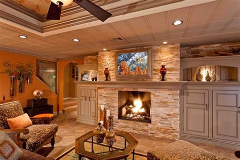 Small Cottage Home Plans by Rustic Basement Ideas With Fireplaces